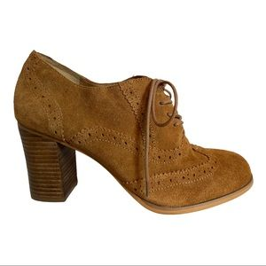 Steve Madden Omyra Cognac Suede Wingtip Lace Up Oxford Heeled Shoes